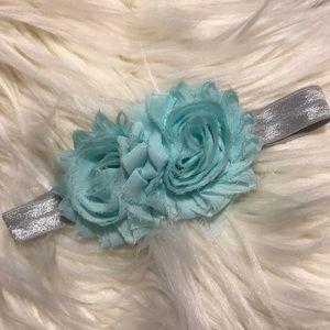 Infant shabby chic double flower stretch headband